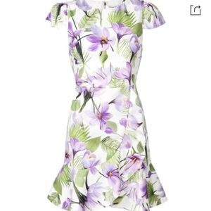 Alice + Olivia Kirby Faux-Wrap Floral Dress Size 8